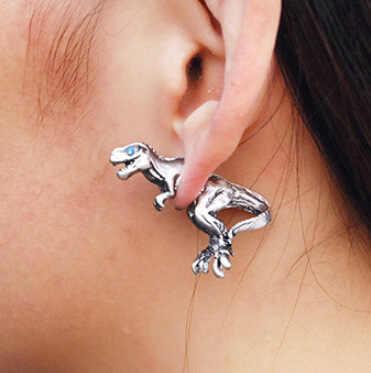 ต่างหูทองเงินแฟชั่นเครื่องประดับต่างหูหญิงแนวโน้มของขวัญ Dangler Eardrop Clasp หญิงยุ้ยไดโนเสาร์