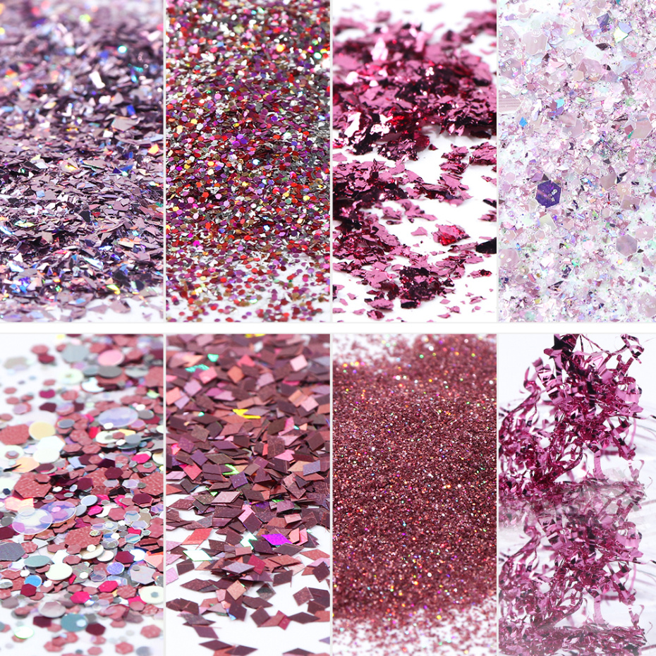 Image 4 - 8 Box Mix Glitter Nail Art Powder Flakes Set Holographic Sequins for Manicure Polish Nail Decorations Shining Tips LA1506 05 1-in Nail Glitter from Beauty & Health