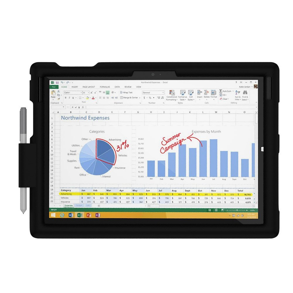 MingShore Silicone Case For Microsoft Surface Pro 2017 With Built-in Pen Holder Keyboard Cover For New Surface Pro Tablet Case