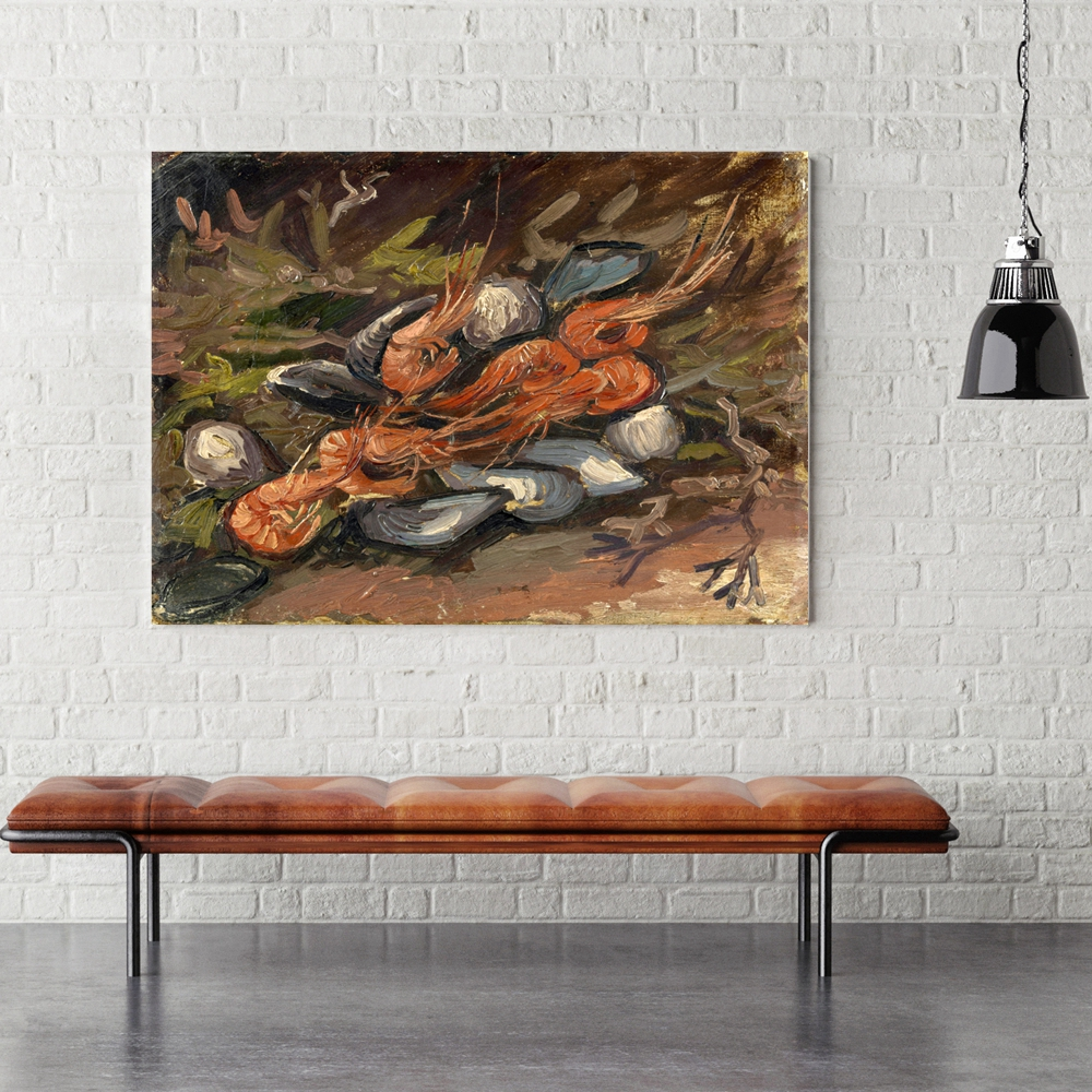 Vincent Van Gogh Shell and Shrimp Still Life Wall Art Canvas Painting for Kitchen Restaurant Wall Decor Giclee Print Home Decor in Painting Calligraphy from Home Garden