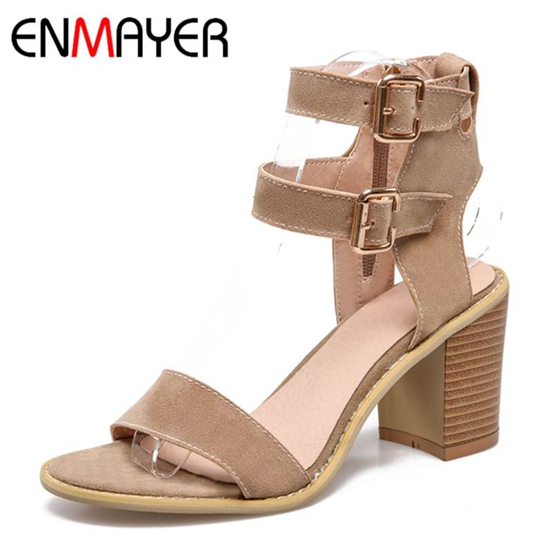 ФОТО ENMAYER High Heels Summer Sandals Pumps Plus Size 33-43 Red Fashion Sandals Square Heel Solid Rubber Buckle Strap Platform