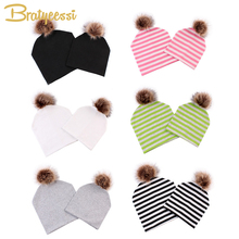 New Cotton Child Hat with Pompom Mother Child Beanie Double Layers Elastic Children Hat Equipment Child Cap for Boys Women Toddler Hats