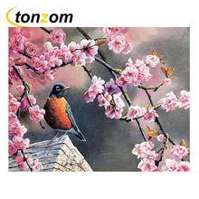 RIHE Plum Blossom Drawing By Numbers Flowers Birds DIY Painting Handwork On Canvas Oil Wall Art Coloring Home Decor