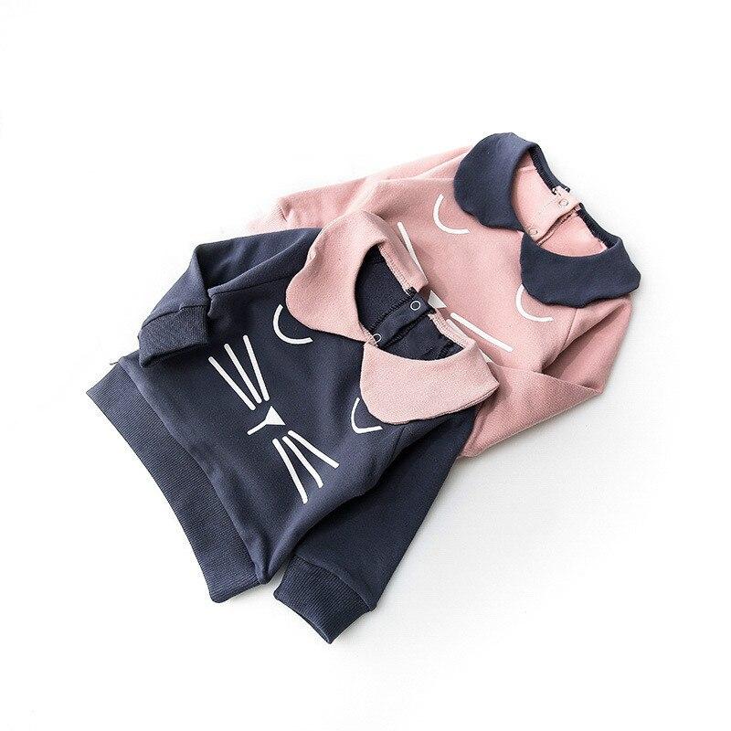 Clothing Blouse T-Shirts Collar Baby-Girls Kids Cartoon Children New Knit Cat Doll Cotton
