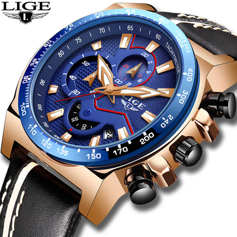 2019 New LIGE Blue Wristwatch Mens Watches Top Brand Luxury Leather Quartz Watch For Men Sport Clock Male Waterproof Chronograph