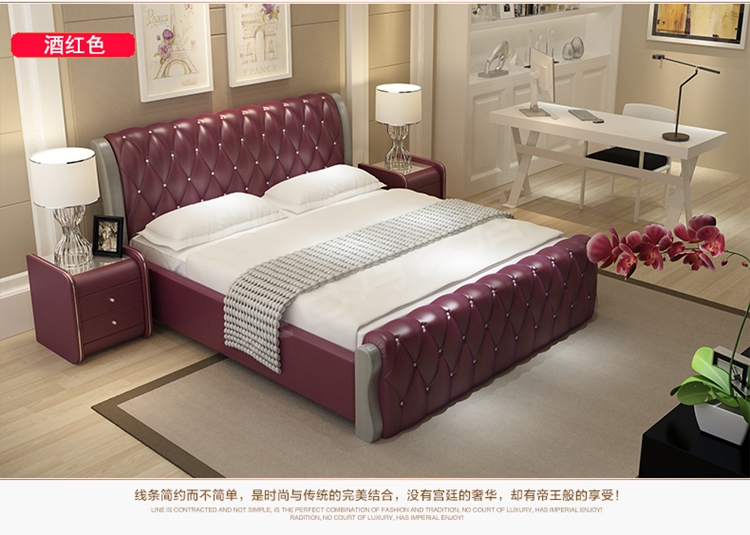 modern bedroom furniture double size queen size bed with leather s02 - Double Size Bed Frame