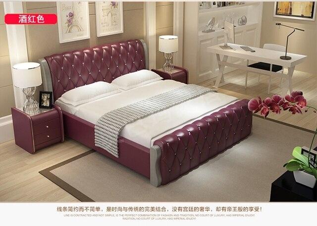Muebles de dormitorio moderno doble tamaño queen size con cuero S02 ...
