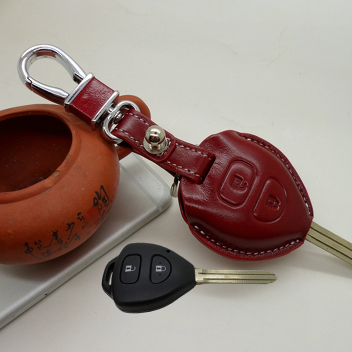 02ce6d598a3 Genuine Leather Car Key Fob Cover for Toyota Corolla Yaris LC Prado 2700  Avalon Rav4 Cmary Key Case Holder Auto Accessoriees-in Car Stickers from ...