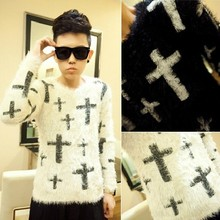 2015 Hot Sale Limited Pullovers O-neck Full Long Sleeve Polo Sweaters Men's Clothing Large Cross Slim Mohair Sweater Male Fluffy