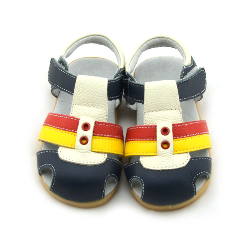 SandQ baby 100% genuine leather boys sandals girls sandals eyelets brown pink navy new summer shoes zapato de bebe chaussure