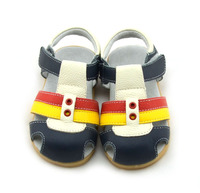 100 Kids Genuine Leather Sandals Velcro T Strap With Eyelets Blue Brown Pink Navy Wholesale Retail