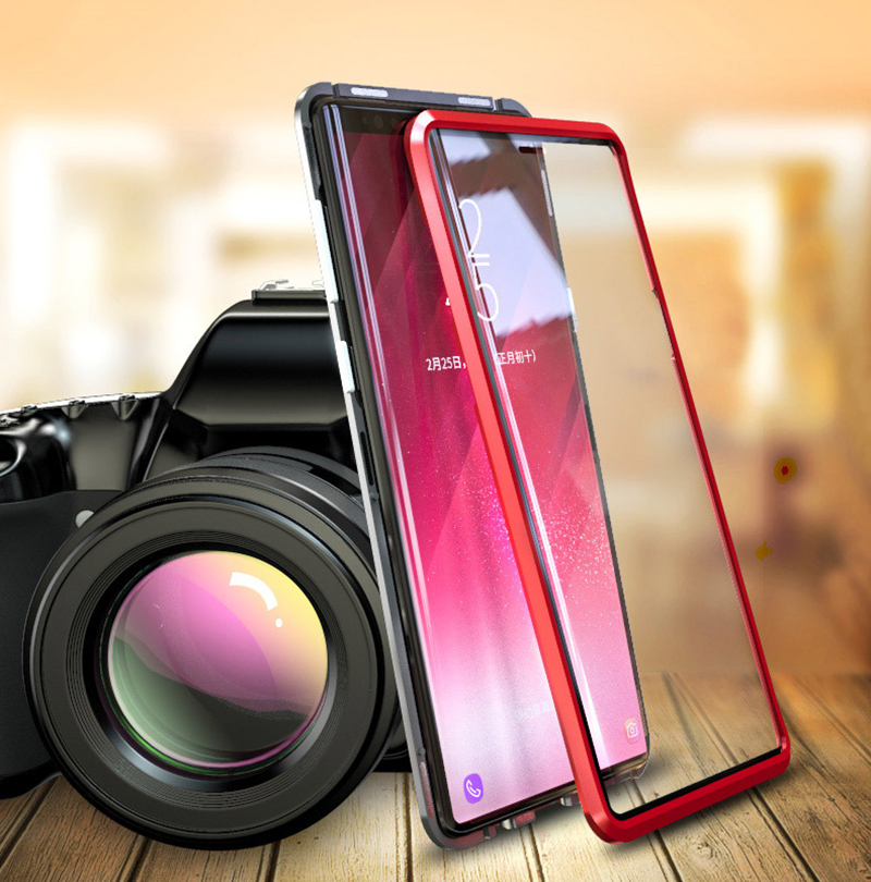 Luxury 360 Double sided front+back glass Magnetic case for samsung galaxy s9 plus note 9 Aluminum metal magnet case cover coque  (2)