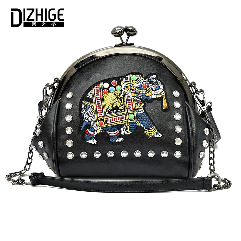 DIZHIGE Brand PU Leather Women Bag Elephant Appliques Handbag Hasp Crossbody For Women Diamonds Chains Women Messenger Bag Tote metallic hasp pu leather tote bag
