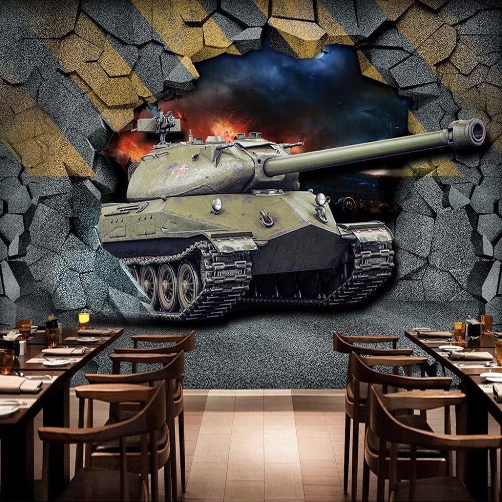 Us 933 55 Offcustom Mural Wallpaper Print Nostalgic Retro Tank Broken Wall Restaurant Bar 3d Background Wall Painting Wallpaper For Walls 3 D In