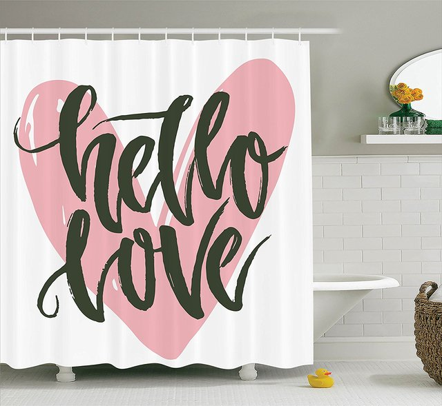 Valentines Day Shower Curtain Lettering Poster With A Phrase Hello Love Over Heart Shape Illustration Art Bathroom Accessories