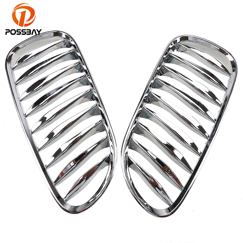 POSSBAY Chrome Plating Car Front Kidney Sport Grille Grills for BMW Z4 M Roadster E85 2.0i/2.2i/2.5i/3.0si/M3.2 2006 2007 2008