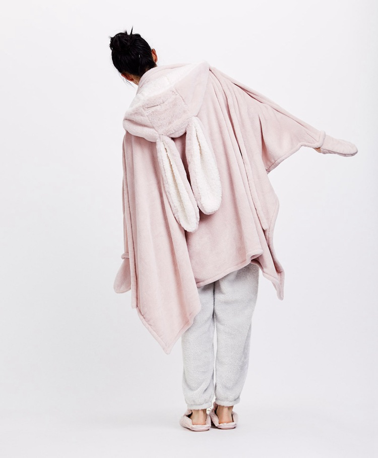 Cute Pink Comfy Blanket Sweatshirt Winter Warm Adults and Children Rabbit Ear Hooded Fleece Blanket Sleepwear Huge Bed Blankets 10