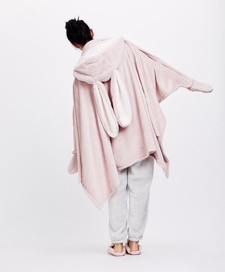 Cute Pink Comfy Blanket Sweatshirt Winter Warm Adults and Children Rabbit Ear Hooded Fleece Blanket Sleepwear Huge Bed Blankets 11