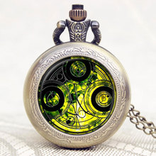 Doctor Who Series Glass Dome Bronze Quartz Pendant Pocket Watch With Necklace Chain Free Shipping Best Gift