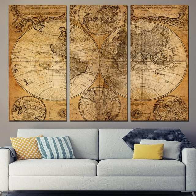 Hd Printed 3 Piece Canvas Art World Map Canvas Ancient Map Painting