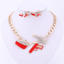 Earring Necklace Golden-Statement Pendant Crystal Enamel Hip-Hop Party Red High-Heeled-Shoes