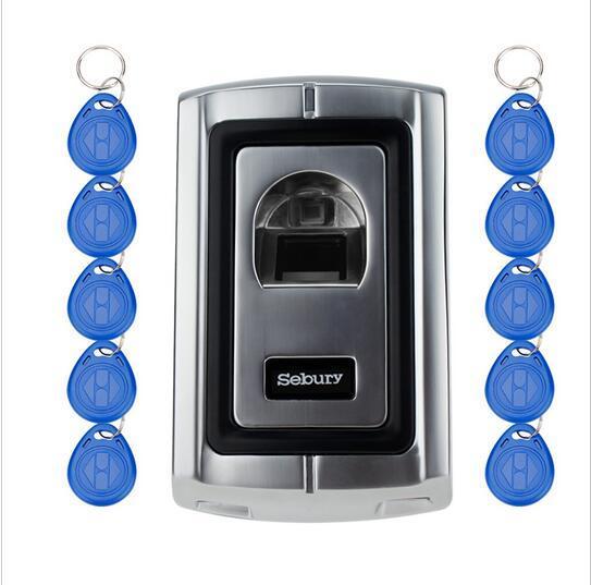 Caja de Metal 20 etiquetas de Control de Acceso 1000 usuarios de Huellas Dactilares lector/escáner con lector de RFID EM/Control de Acceso biométrico