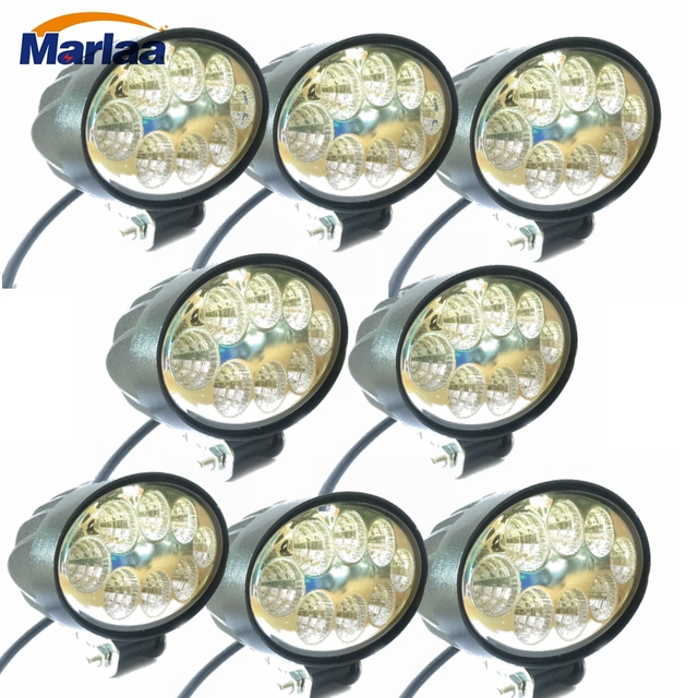 8pcs 24W Oval Flood LED Working Light for SUV 4WD Offroad ATV Car Truck Tractor 8 LEDs Cup Reflection Headlight Fog DRL