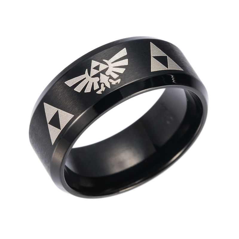 1 шт. высокое качество Косплей Zelda анимация кольцо из нержавеющей стали черный размер 6-12