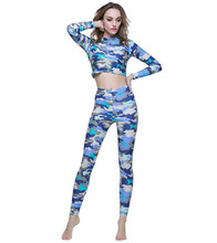 Women's Surfing Leggings and Long Sleeve Top for Sun Protection for Yoga, Swimming, Surfing, Diving Rash Guard Tights Running