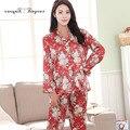 Nova boa qualidade terno Dormir Belo padrão floral Completo manga do Pijama terno Das Mulheres