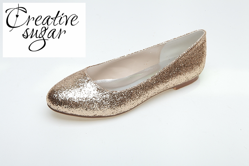 Creativesugar rounded toe woman bling glitter flats slip on metallic silver  gold party night club evening ee9bec379dd7