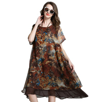 Women Plus Size Knee Length Oversize Floral Chiffon Dress Xl 2xl 3xl 4xl