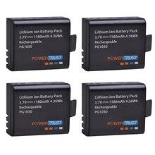 PowerTrust 4x PG1050 батарея 1180 мАч аккумуляторная батарея для SJCAM SJ4000 sj4000 SJ5000X eken H9 H9R H8R H8 Экшн-камера