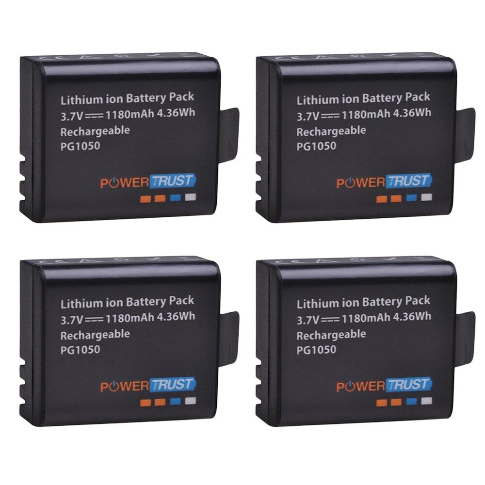 Bateria recarregável da bateria 1180 mah de powertrust 4x pg1050 para sjcam sj4000 sj4000 sj5000x para a câmera da ação de eken h9 h9r h8r h8