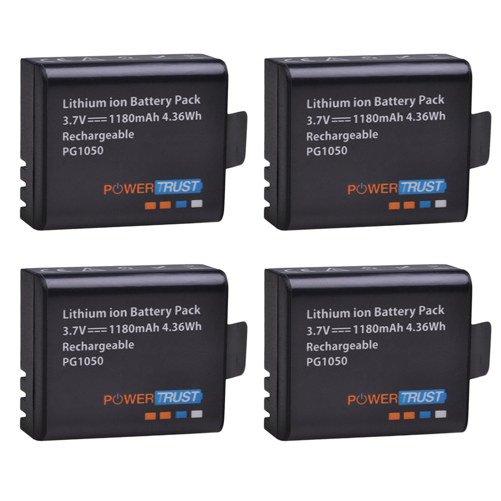 PowerTrust 4x PG1050 Battery 1180mAh Rechargeable Battery For SJCAM SJ4000 Sj4000 SJ5000X For EKEN H9 H9R H8R H8 Action Camera