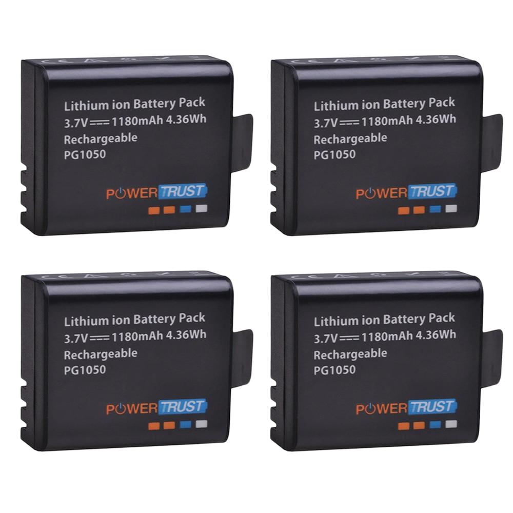 PowerTrust 4x PG1050 Battery 1180mAh Rechargeable battery For SJCAM SJ4000 sj4000 SJ5000X For EKEN H9 H9R H8R H8 Action Camera