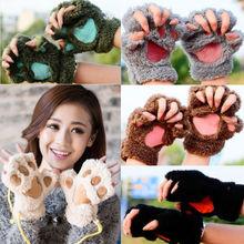 Хит, Милая женская кошачья лапа с когтями, рукавица, плюшевая перчатка, костюм, милые зимние теплые перчатки на пол пальца, женские перчатки, варежки