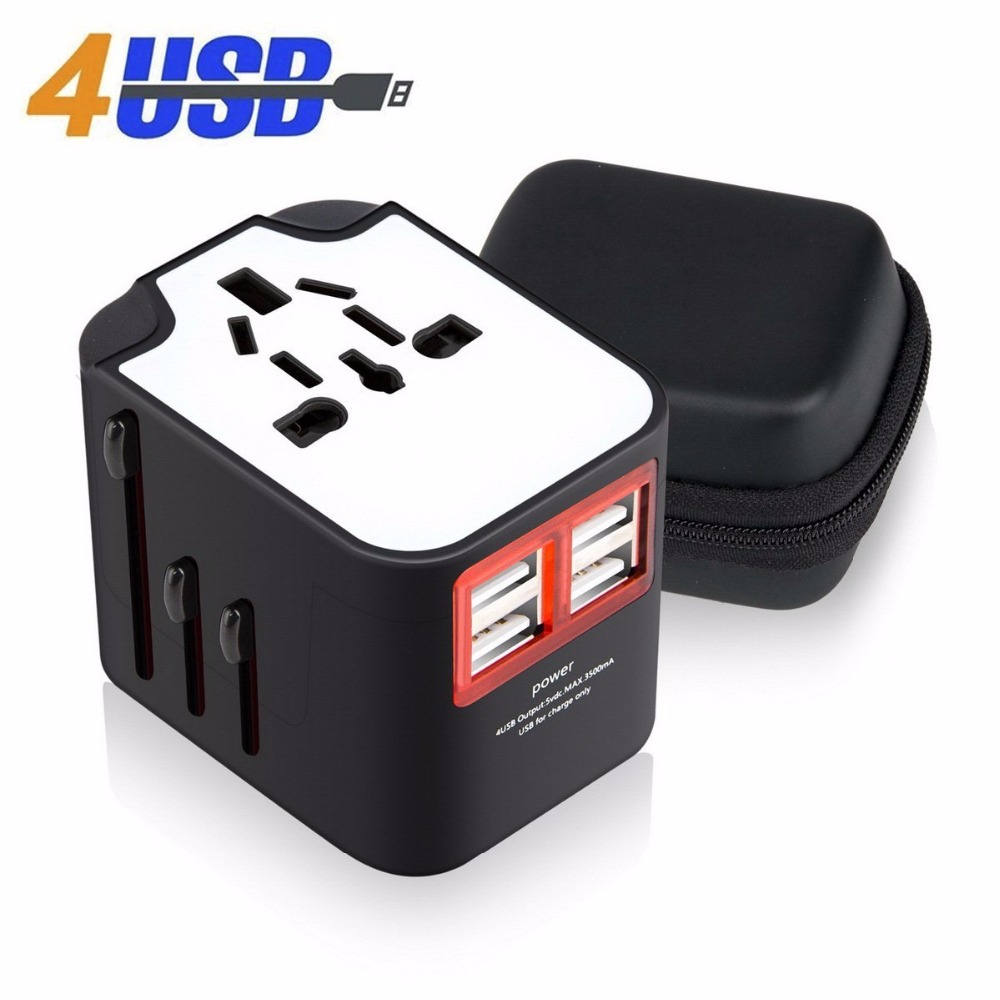 New Travel Adapter International Universal Power Adapter All-in-one with 3.4A 4 USB Worldwide Wall Charger for UK/EU/AU/Asia