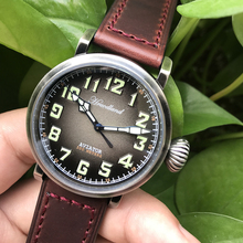 Hruodland New Mens Pilot Retro Watch Stainless Steel Diving Watch 300mWater Resistant Movement Wristwatch Sapphire Crystal New