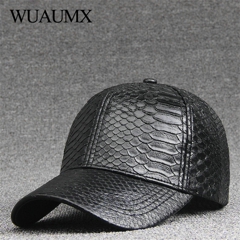 Wuaumx Fashion High Quality PU Snake Leather   Baseball     Caps   For Men Women Solid Black Faux Leather   Cap   Casual Snapback Wholesale