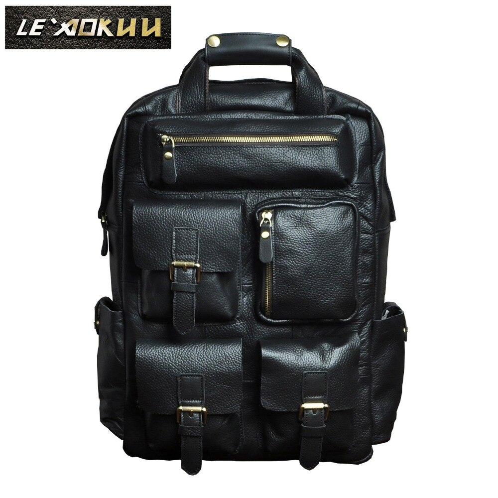 Men Original Leather Fashion Travel University College School Bag Designer Male Black Backpack Daypack Student Laptop