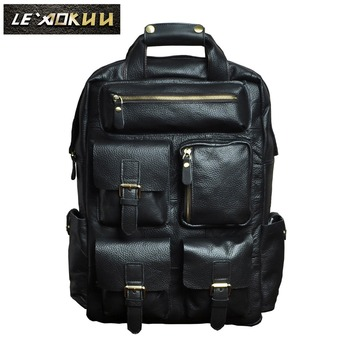 Men Original Leather Fashion Travel University College School Bag Designer Male Black Backpack Daypack Student Laptop Bag 1170-b new design male real cowhide leather casual travel bag school backpack daypack for men 2107