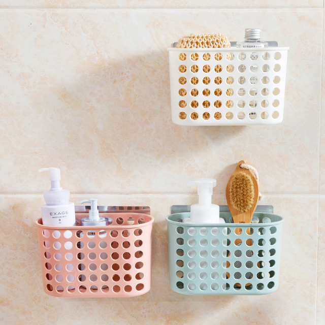 Suction Wall Type Storage Basket Colored Fashion Hollow Plastic Portable  Kitchen Bathroom Bath Basket Toiletries Debris