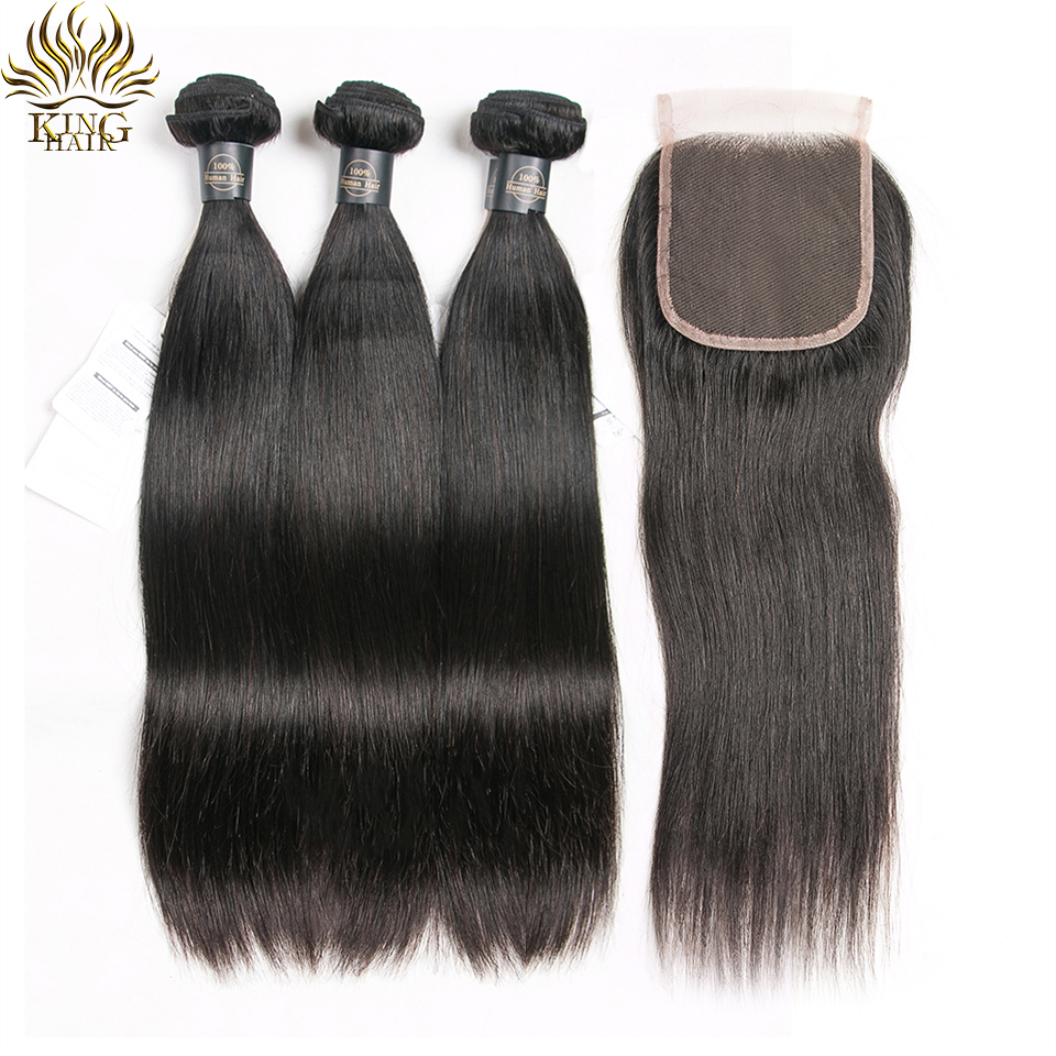 King Brazilian Straight Hair 3 Bundles With Closure Double Weft Hair Weave Bundles Remy Human Hair
