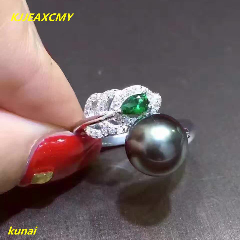 KJJEAXCMY fine jewelry Natural black pearl ring 925 silver open and beautiful ladys ring.