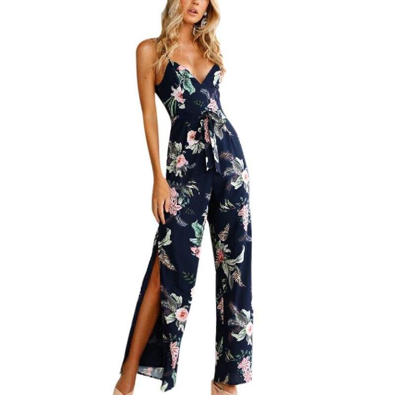 Fashion Women Backless Sleeveless Jumpsuit Polyester V-Neck Floral Printed Navy Jumpsuit Sling Split Loose Romper With Belt 2018