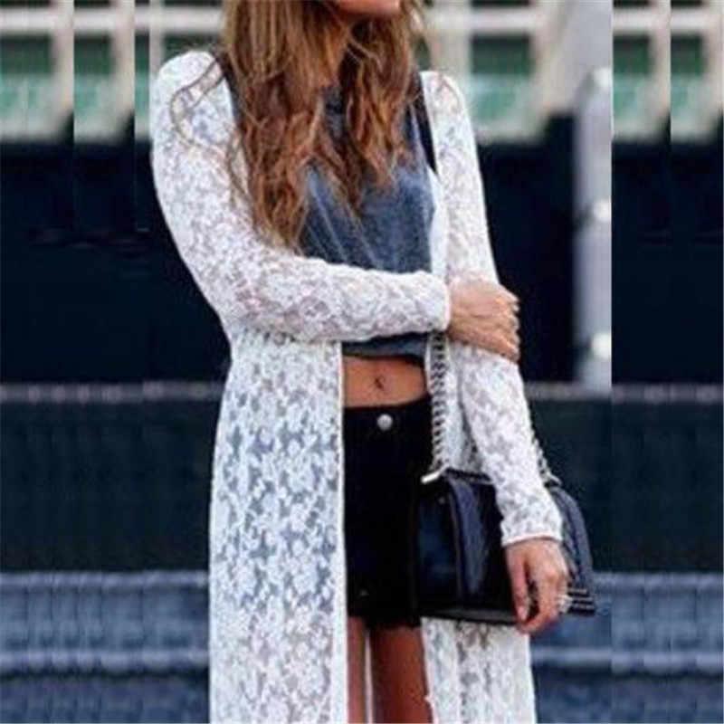 女性のシアーレースのドレス夏カーディガンビーチロングドレス女性 2019 セクシーな新ホット夏ローブフェムセクシー ropa mujer エレガント