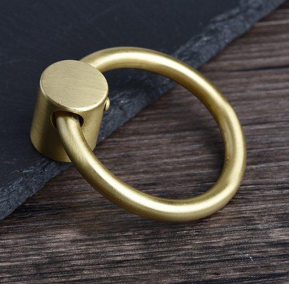 Pure Copper Drop Ring Pulls Gold Brass Dresser Knobs Drawer Pull Handles Knob Drop Kitchen Cabinet Handle Pull Knobs in Cabinet Pulls from Home Improvement