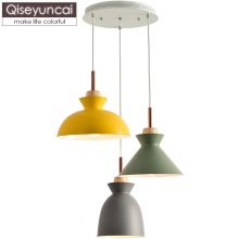 Qiseyuncai Nordic modern minimalist three-headed restaurant chandelier macaron color creative bar bedroom cafe lamp
