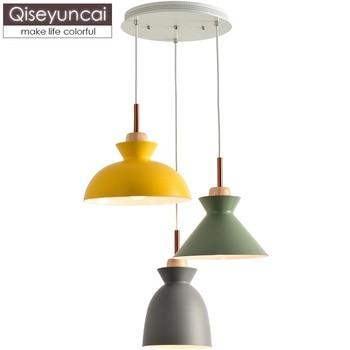 Qiseyuncai Nordic modern minimalist three-headed restaurant chandelier macaron color creative bar bedroom cafe lamp
